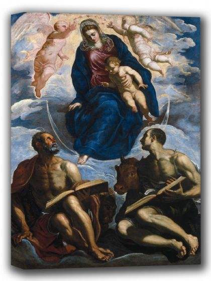 Tintoretto, Jacopo Robusti: Mary with the Child, Venerated by Saint Marc and Saint Luke. Fine Art Canvas. Sizes: A4/A3/A2/A1 (001990)
